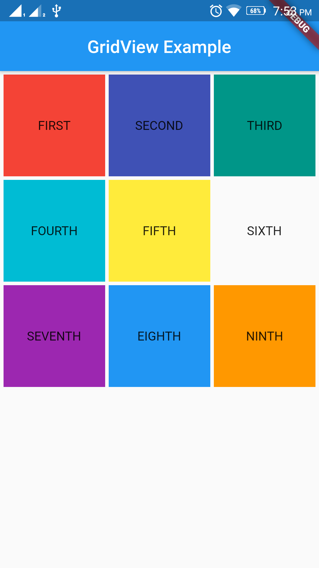 Beautiful Grid Layout Using GridView in Flutter Output